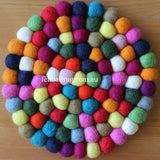 Multi Colored Felt Ball Trivet - Felt Ball Rug Australia - 2