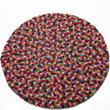 Multicoloured Felt Ball Rug