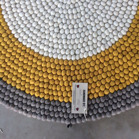 Mustard Dream Felt Ball Rug
