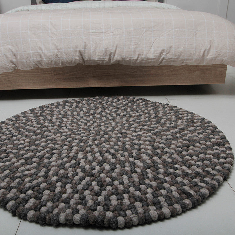 Natural Grey Felt Ball Rug