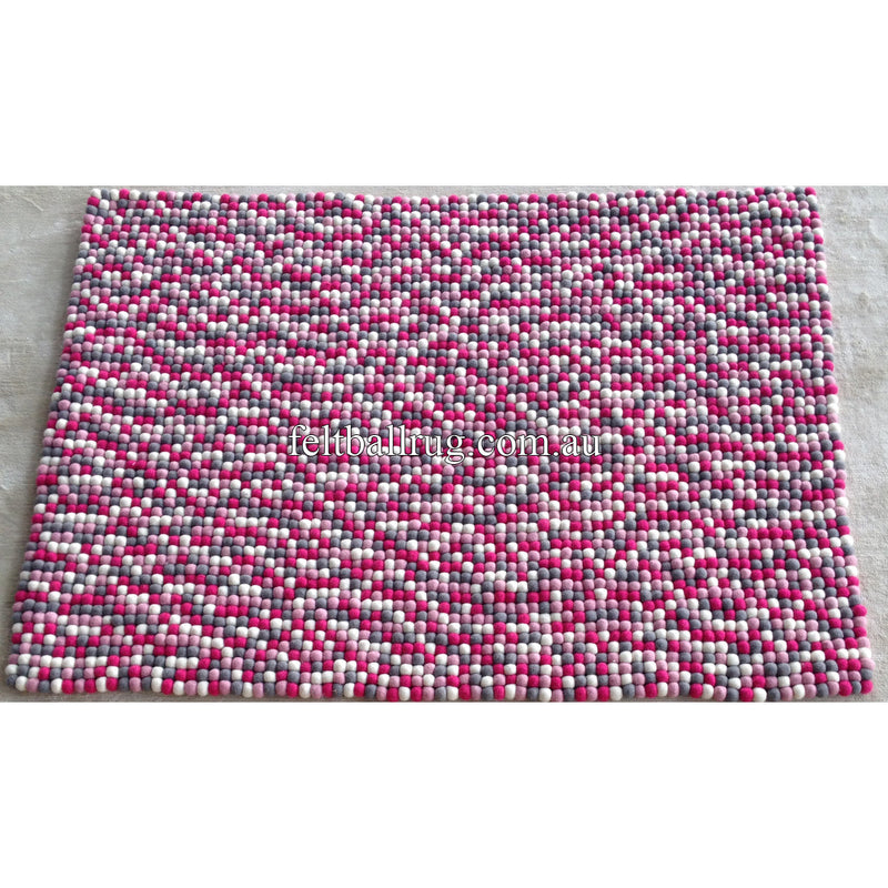 Pink Grey And White Rectangle Felt Ball Rug - Felt Ball Rug Australia - 2