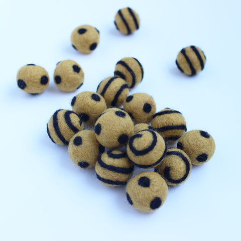 Polka Dot Swirl Felt Balls Black On Gold