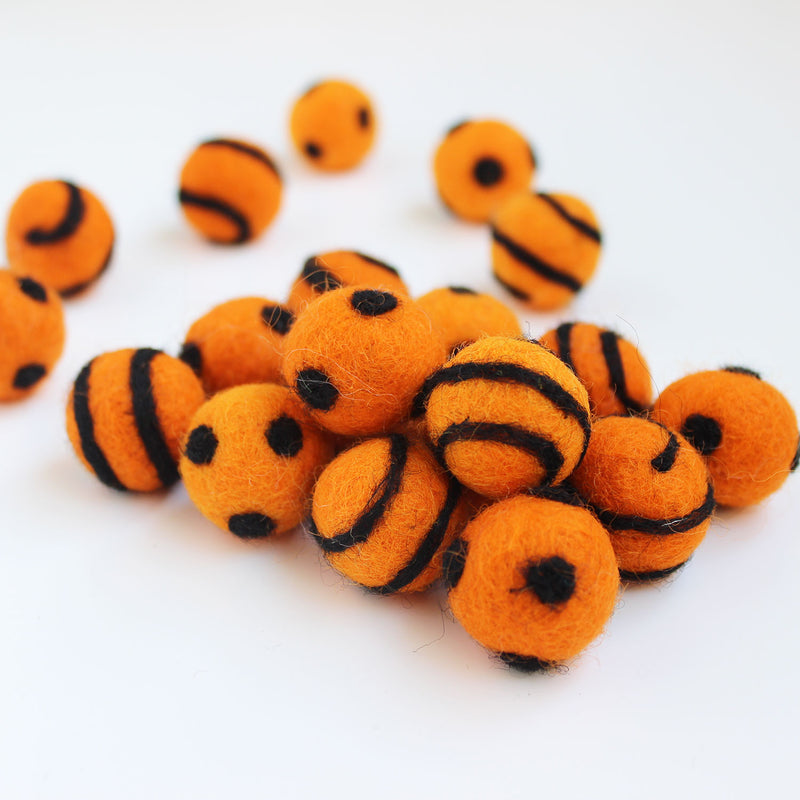 Polka Dot Swirl Felt Balls Black On Orange