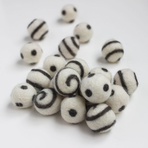 Polka Dot Swirl Felt Balls Grey On White