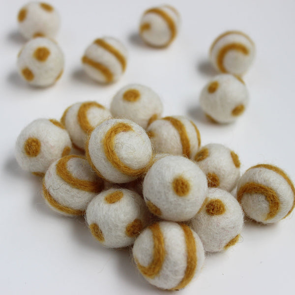 Polka Dot Swirl Felt Balls Gold On White
