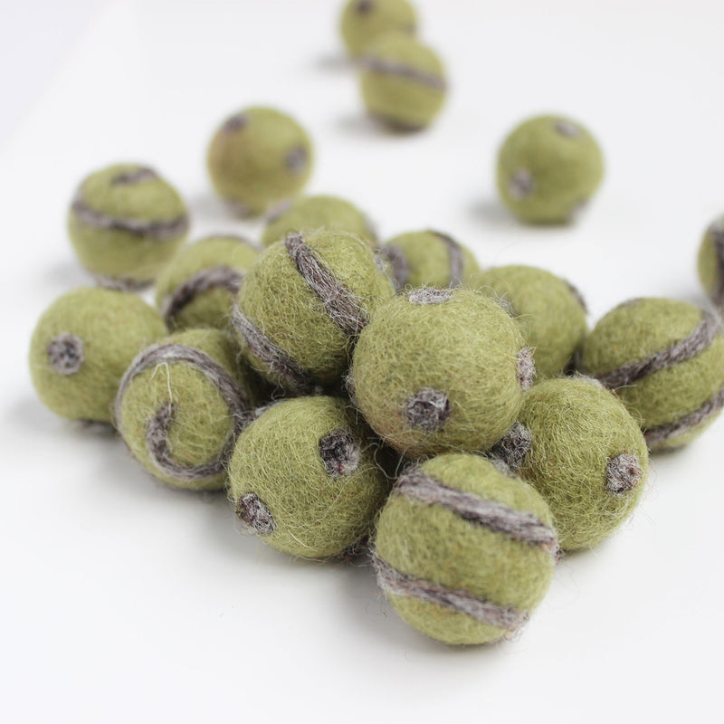 Polka Dot Swirl Felt Balls Natural Grey On Olive Green