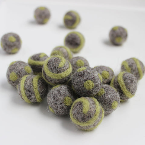 Polka Dot Swirl Felt Balls Olive Green On Natural Grey