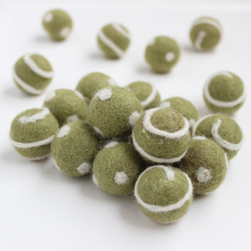 Polka Dot Swirl Felt Balls White On Olive Green