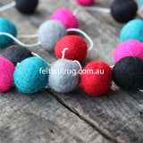 Felt Ball Garland Magenta Rose Ocean Green Black Grey - Felt Ball Rug Australia - 2