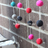 Felt Ball Garland Magenta Rose Ocean Green Black Grey - Felt Ball Rug Australia - 3