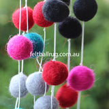 Felt Ball Garland Magenta Rose Ocean Green Black Grey - Felt Ball Rug Australia - 4