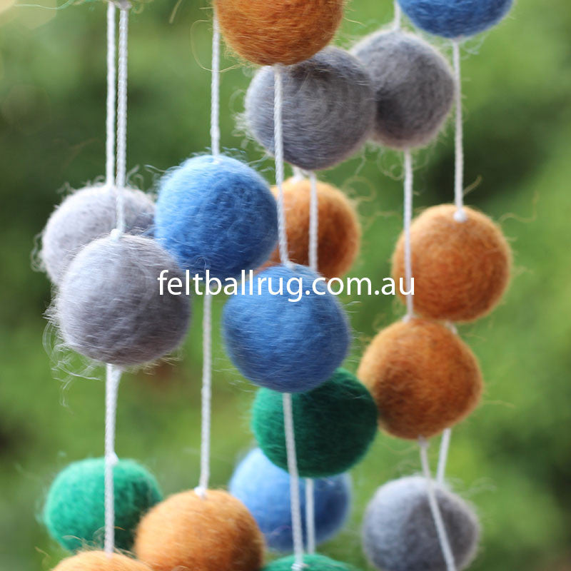 Pom Pom Garland Blue Green Grey Brown - Felt Ball Rug Australia - 3