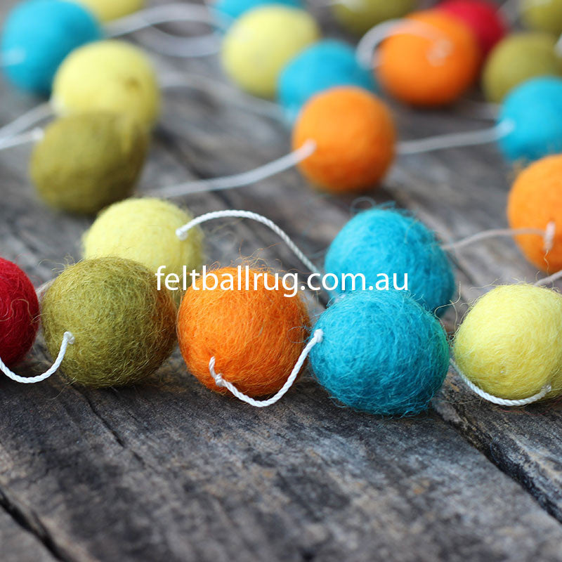 Felt Ball Garland Red Green Orange Yellow - Felt Ball Rug Australia - 2