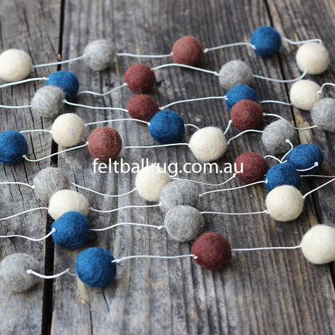Pom Pom Garland Navy Cream Grey Brown - Felt Ball Rug Australia - 1
