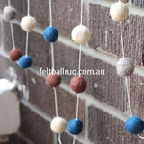 Pom Pom Garland Navy Cream Grey Brown - Felt Ball Rug Australia - 2