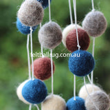 Pom Pom Garland Navy Cream Grey Brown - Felt Ball Rug Australia - 4