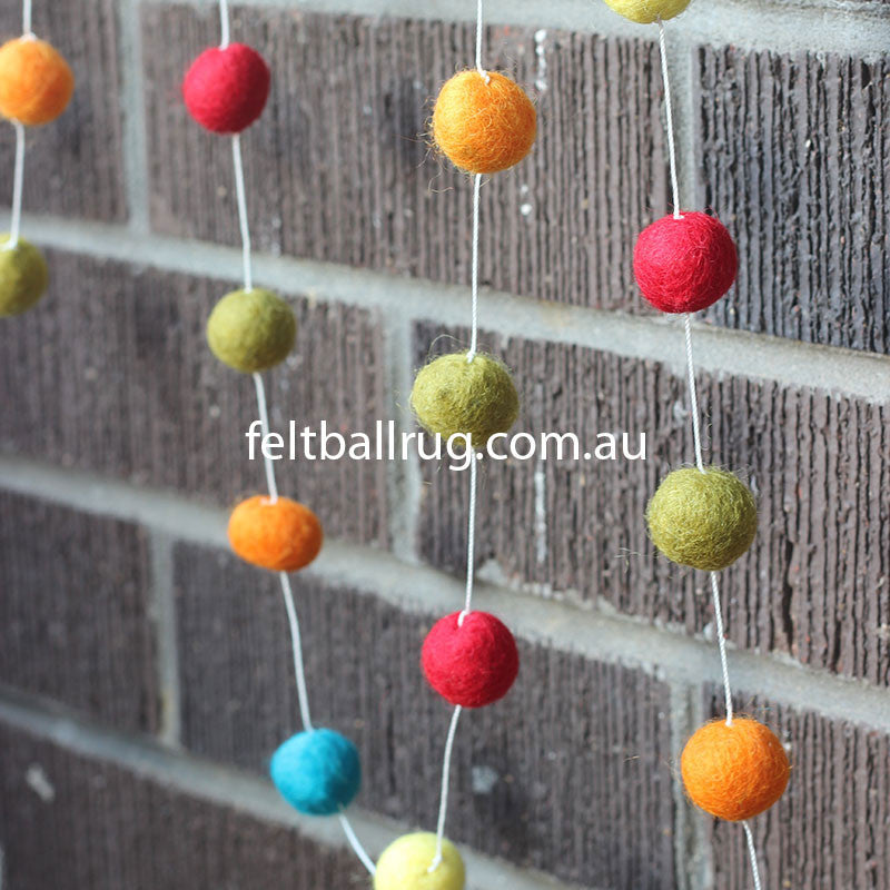 Felt Ball Garland Red Green Orange Yellow - Felt Ball Rug Australia - 3