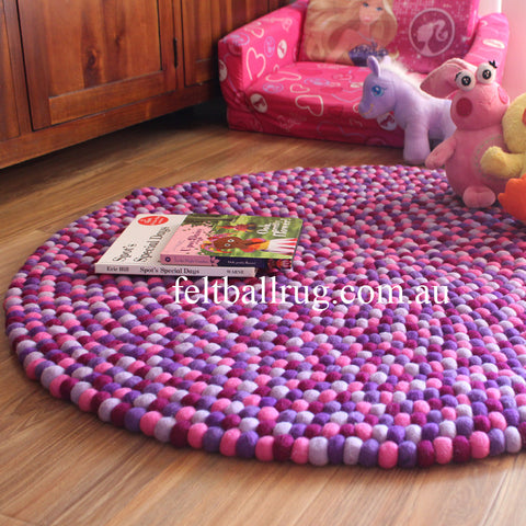 Pancy Purple Felt Ball Rug - Felt Ball Rug Australia - 1