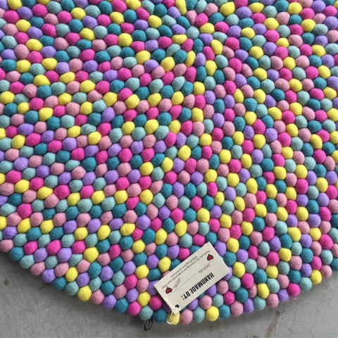 Rainbow sprinkles felt ball rug