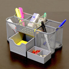 pencil organizer holder caddy Silver Office Computer Desk Supplies Pen Pencil Holder Organizer Caddy