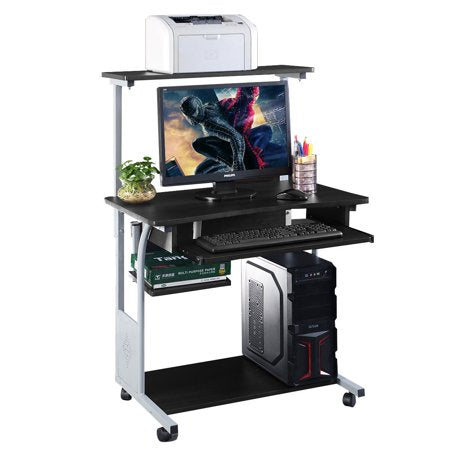 Small Compact Mobile Portable Computer Tower With Printer Shelf Desk With Wheels