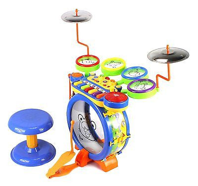 Kids Musical Toy Drum N Keyboard Play Set, Key Piano, Drums, Cymbals, DJ Mixer