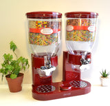 Large Dry Cereal Storage 2 Double Canister Organizer Dispenser