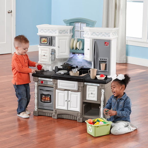 Kids Step2 Pretend Play Complete Chef's Interactive Toy Kitchen Playset with Lights & Sounds