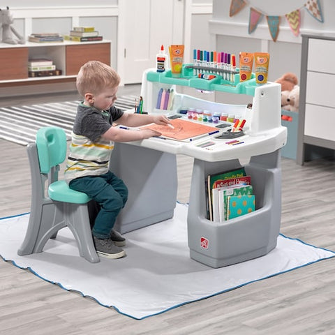 Kids Step2 Deluxe Easel Desk & Stool Art Creativity Storage & Organizer Center w Splat Mat