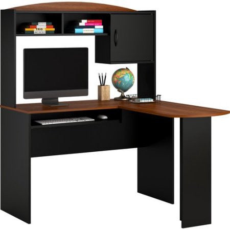 L Shaped Computer Corner Home Office Desk With Hutch