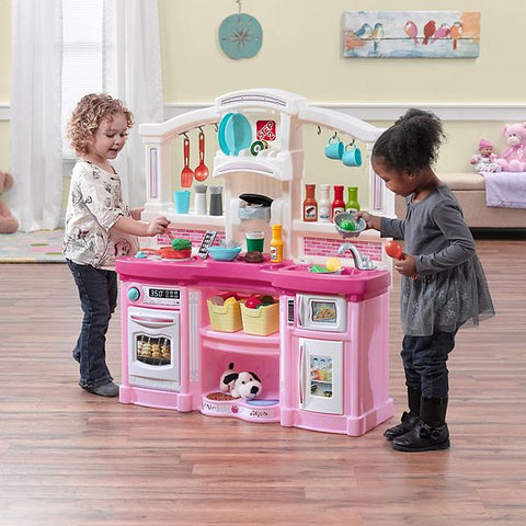 Pretend Play Step2 Complete Interactive Toy Pink Kitchen Playset w Lights & Sounds