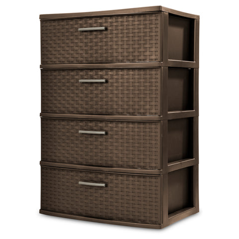 Wide 4 Drawer Classy Weave Design Storage Organizer Cart