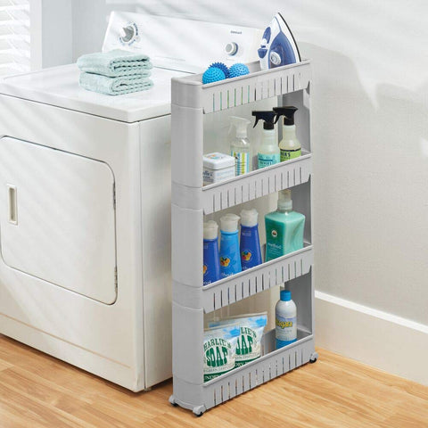 Slim Rolling Slide Out Kitchen, Bath, or Laundry Storage Cabinet Organizer Utility Cart