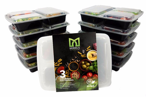 3 Sections Microwavable Reusable Freezer Safe Meal Prep Food Storage Containers with Cutlery- 10 Pack