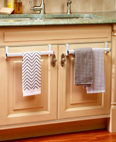 Set of 2 Over the Kitchen Cabinet Door Towel Bar Organizer & Holder Rack