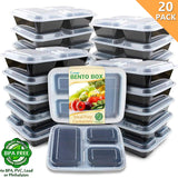 3 Compartment Microwavable Freezer Safe Meal Prep Food Storage Containers, 20 Pk