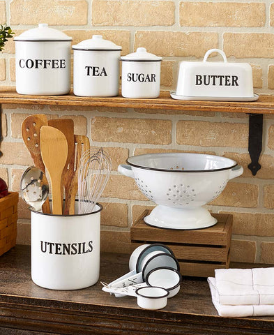 Kitchen Decorative Country Enamelware Canister & Organizer Collection Set