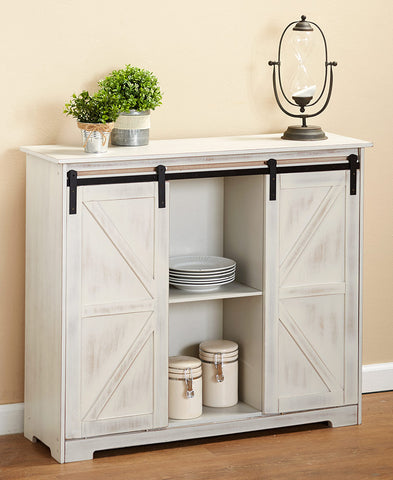 Country Kitchen Decorative Buffet Storage Display Cabinet with Barn Style Doors Furniture