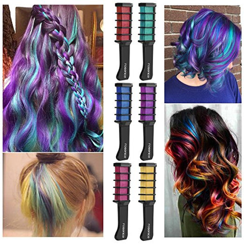 6 Colorful Hair Chalk Combs. Temporary Hair Shimmer Color Cream for All Ages