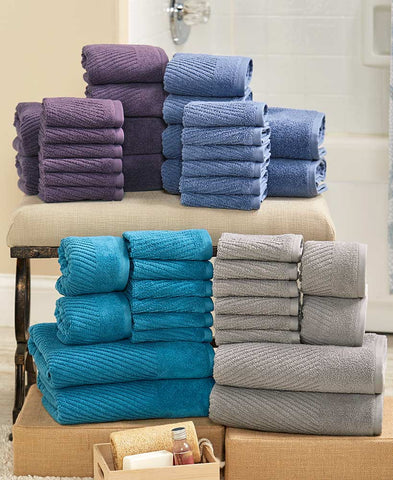 10 Piece Complete Zero Twist Towel Set With Hand Washcloths and Bath Towels