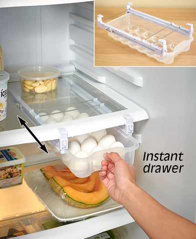 Adjustable Sliding Refrigerator Egg Drawer Organizer & Holder Rack