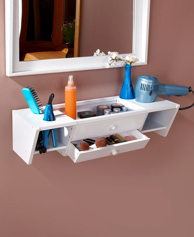 Unique Home Decor Floating Wall Mounted Bathroom Vanity Organizer Storage Display Shelf