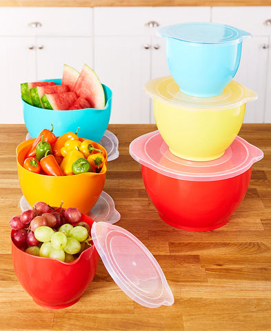 Colorful 6 Piece Dishwasher Safe Mix & Storage Bowl Set, Mixing Bowls with Lids