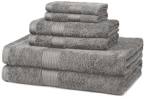Fade-Resistant 100 Percent Cotton 6-Piece Bathroom Bath Towel Set