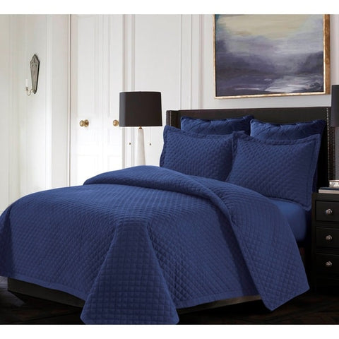 All Season Wrinkle Resistant Soft Luxurious 3 Pc Microfiber Quilt Bedding Bed Set