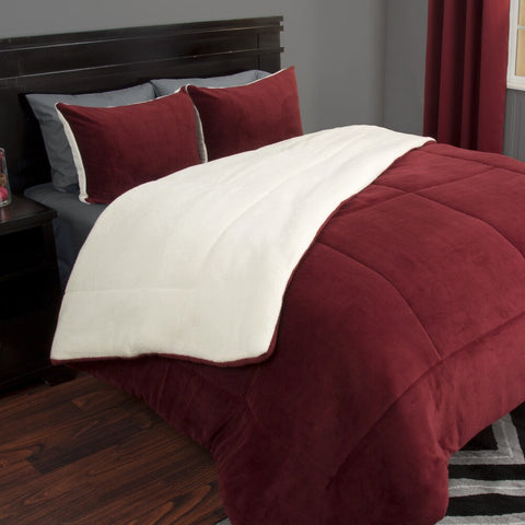 Plush, Thick Sherpa Fleece 3-piece Comforter Blanket Bedding Set