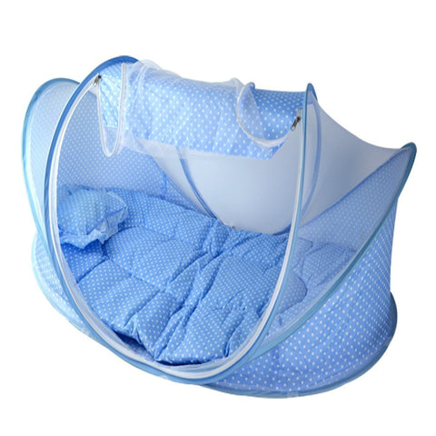 Portable Travel Baby Crib With Mosquito Net Padded Mattress n Pillow Tent Bed Shelter ...  sc 1 st  Vicku0027s Great Deals - Shopify & Portable Travel Baby Crib With Mosquito Net Padded Mattress n ...