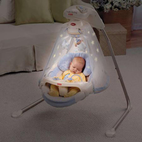 Newborn, Infant Baby Cradle and Swing with Night Light Projection Show