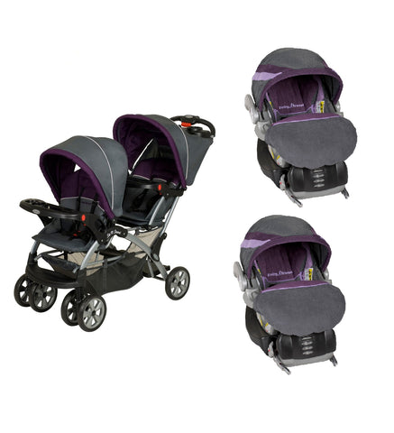 Purple Double Sit N Stand Twin Stroller Travel System With 2 Infant