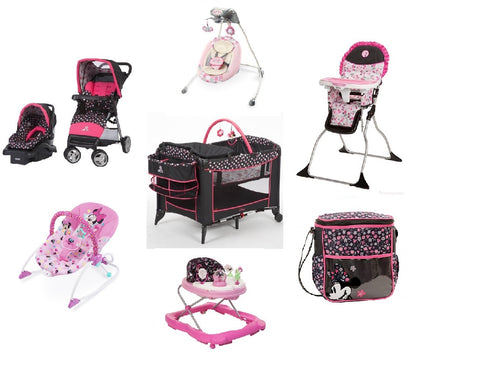 Disney Minnie Mash Up Complete Baby Gear Bundle with Swing & Diaper Bag